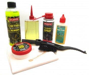 Fahrrad Reinigungsset Pflegeset Pflegemittel Set inkl. Kettenreiniger, Fahrradöl, Federgabel Spray, Kugellagerfett