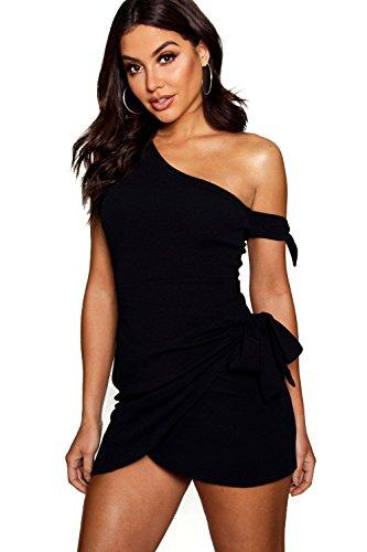 YPO Womens Black Laura Tie Detail Wrap Mini Dress