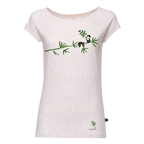 FellHerz Faultier weiß gepunktet - S - süßes Damen T-Shirt aus 100% Bio-Baumwolle Organic Cotton fair nachhaltig alternativ Bambus Baum Mädchen Fee -