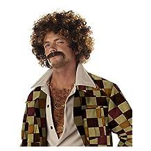 California Costumes Men's Disco Dirt Bag Wig & Moustache, Blonde/Brown,One Size