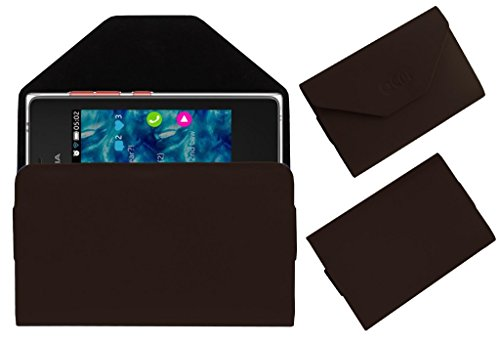 Acm Premium Pouch Case For Nokia Asha 502 Flip Flap Cover Holder Brown  available at amazon for Rs.179