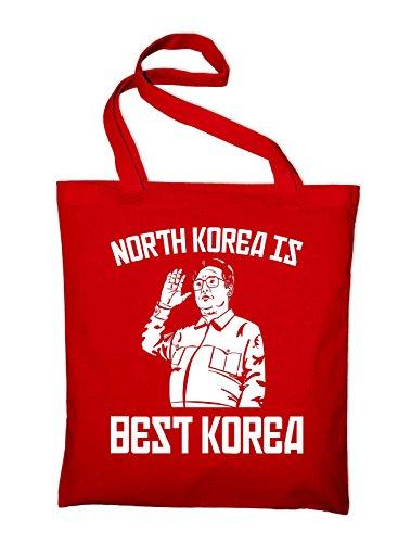 North Korea is Best Korea Fun Jutebeutel, Beutel, Stoffbeutel, Baumwolltasche Rot