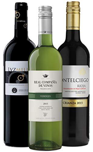 Wine A Porter Spanien Entdecker-Set, 3 trockene Weiß- und Rotweine aus Spanien, Weinpaket für Weinliebhaber, tolles Geschenk für jeden Anlass, Jahrgänge 2013/15, 3 x 0,75 l
