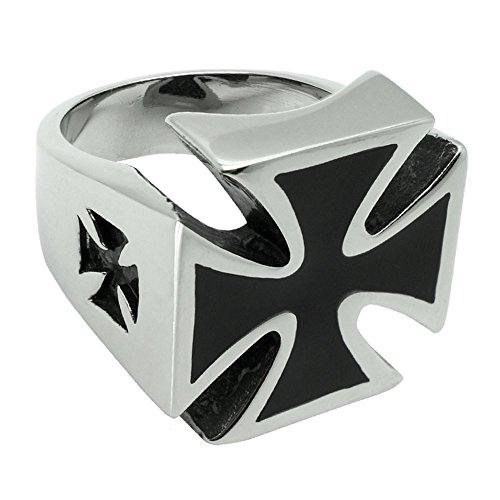 SoulCats® Hommes croix de fer de l anneau d argent massif en acier f4117978907