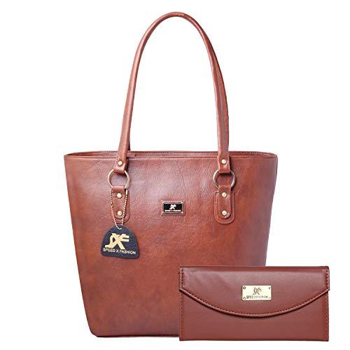 Speed X Fashion Women's Handbag And Girl's Handbag And Wallet Clutch Combo(Brown)