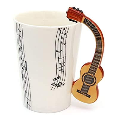 Ceramic Mug Classical Guitar Handle, Music Musical Notes Cup Tea Coffee Gift from www.lefantasiedicasa.com