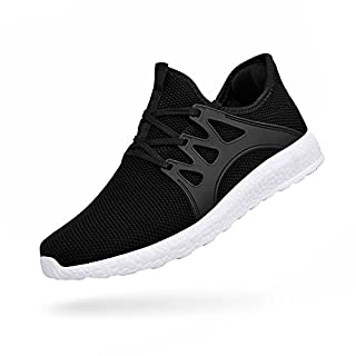 ZOCAVIA Women's Flex Sports Running Shoes Air Trainers Lace up Gym Dance Sneakers for Ladies/Girls, (Black-White, Size 9) / 45 EU