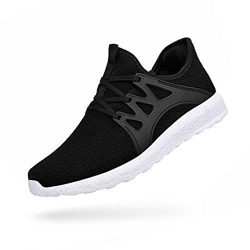 ZOCAVIA Herren Sportschuhe Laufschuhe Sneaker Atmungsaktiv Leichte Wanderschuhe Schwarz-Weiß 45