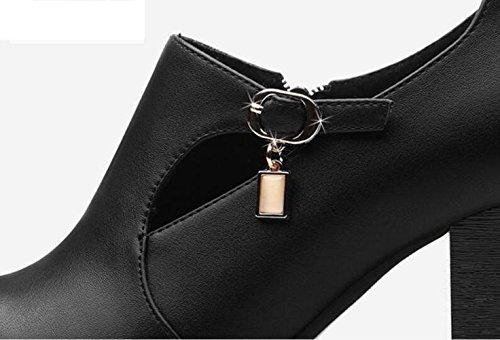 L@YC Frauen High Heels mit spitzen Zehen Chunky Heels Schuhe im Fr¨¹hjahr und Herbst Schuhe Schwarz Rot Black