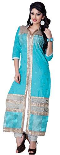 Sky Blue Colour Cotton Party Wear Heavy Thread Work Embroidery Churidar Suit...