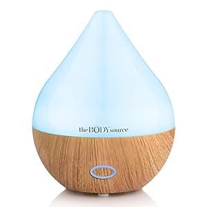 The Body Source 165ml Ultraschall Aroma Diffuser – Luftbefeuchter mit 7 Farben LED Licht – Elektrische Duftlampe für ätherische Öle – Aromatherapie für Zuhause, Büro, Spa
