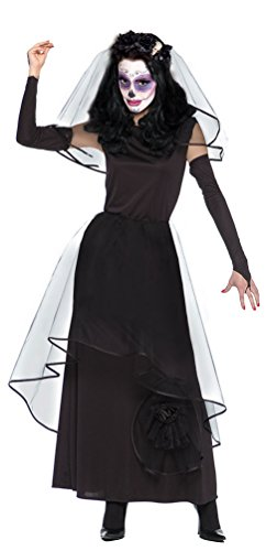 Karneval-Klamotten Dia de los Muertos Kostüm Damen La Catrina Damen-Kostüm Tag der Toten Brautkleid inkl. Schleier + Handschuhe Größe 36/38