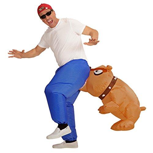 NET TOYS Aufblasbares Kostüm Bissiger Hund Tierkostüm Hund Herrenkostüm Pitbull beißt in den Hintern Bulldogge Faschingskostüm