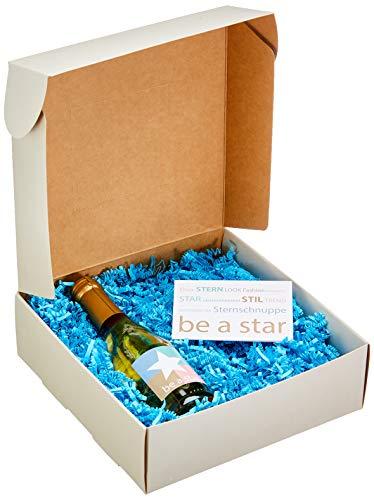 DKDS Collection Geschenkset-Be a Star, italienischem Perlwein und Berydale Damenschal mit Sternenprint, blau (200 ml) - Schal-geschenk-set