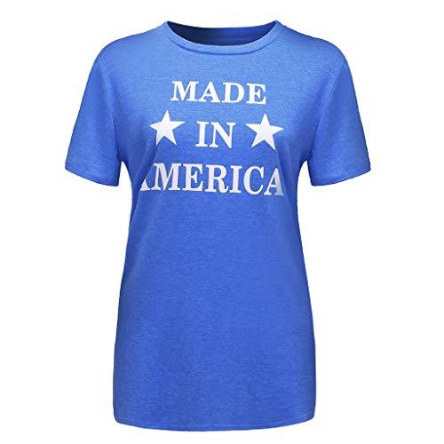 Oksea Damen T-Shirt mit Amerika Flagge Fledermaus Ärme Top T-Shirt für Damen Amerika USA Flagge Damenmode Kurzarm Amerikanischer Buchstabe Druck T-Shirt Lässige Top Bluse