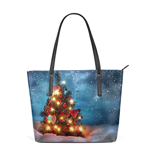 XGBags Custom Damen Pu Leder Umhängetasche Handtasche Womens Purse Unique Christmas Tree In Snow Day PU Leather Shoulder Tote Bag -
