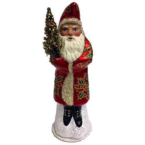 Pinnacle Peak Trading Company Ino Schaller Red and Gold Holly Leaves Santa German Paper Mache Candy Container Gold Holly