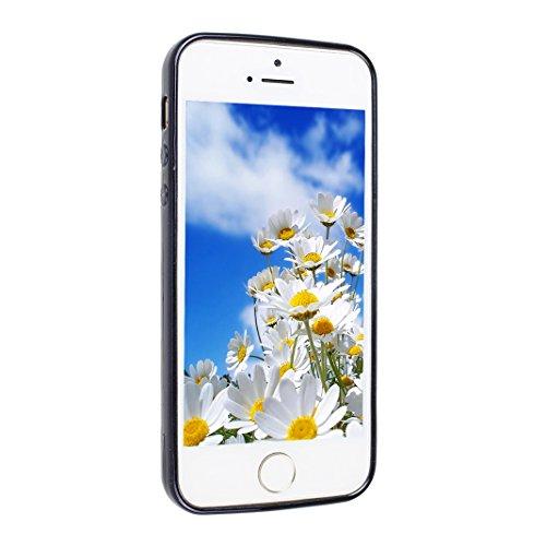 Couleur Pure Case Pour iPhone 5/5S/SE, Asnlove Souple Silicone TPU Étui Housse Avec des Trous de Refroidissement Coque Electroplated Cas Trou Respirant Cover Pour iPhone 5/5S/SE, Rouge Noir
