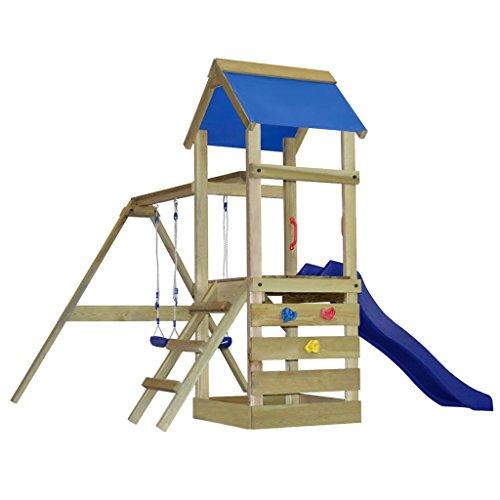vidaXL Parque infantil de madera con escalera, tobogán y columpios, medida S
