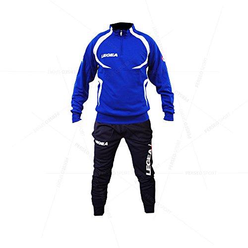 Tuta Legea Algeria T104 Uomo Allenamento Fitness Calcio Tempo Libero Vari Colori e TG Azzurro/Blu