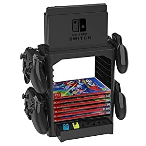 PeiXuan2019 Multifunktions-Game Storage Tower-Halterung Ablagenhalter für Nintendo Switch Disc Console Host Controller