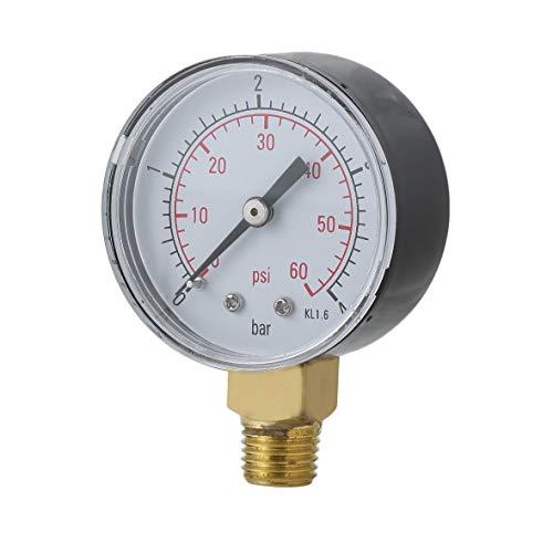 Heaviesk Praktische Pool Spa Filter Wasser Manometer Mini 0-60 PSI 0-4 Bar Seitenmontage 1/4 Zoll Rohrgewinde NPT TS-50 -
