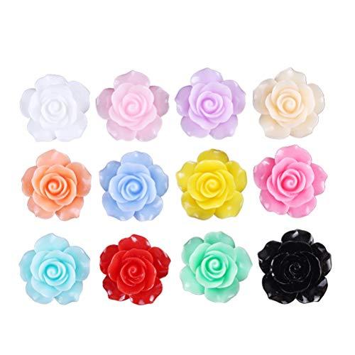 Healifty 50pcs Rose Blumen Perlen Flatback DIY Cabochons Zubehör Verschönerung für Scrapbooking Handwerk 10mm (Cabochons Blumen)