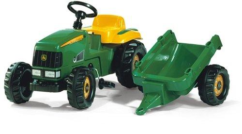 *Rolly Toys 012190 Traktor rollyKid John Deere mit Anhänger rollyKid Trailer, Motorhaube öffenbar, geschützter Integralkettenantrieb, für Kinder von 2,5 – 5 Jahre*