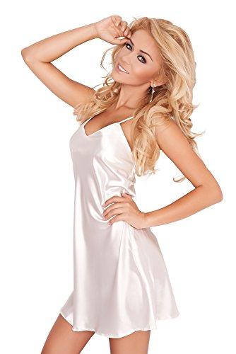 r-dessous sinnliche Damen Nachtwäsche Satin Nachthemd Nachtkleid Sleepshirt große Größen Frauen Wäsche Pyjama Bordo