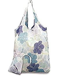 2 Foldable Reusable Hawaii Shopping Tote Bags Modern Hibiscus Blue