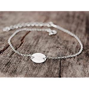 925 Gliederarmband Namensarmband Gravurarmband Trauzeugin Zartes Armband Armband filigran Armband personalisiert Schmuck mit Gravur