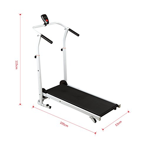 41PAUmKwSrL. SS500  - Fitnessclub Folding Manual Treadmill Walking Machine Incline Cardio Fitness Running Exercise Adjustable Height Slope adjustment