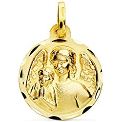 Médaille ange de la Garde Protecteur Or 18carats 16mm Médaille naissance/baptême