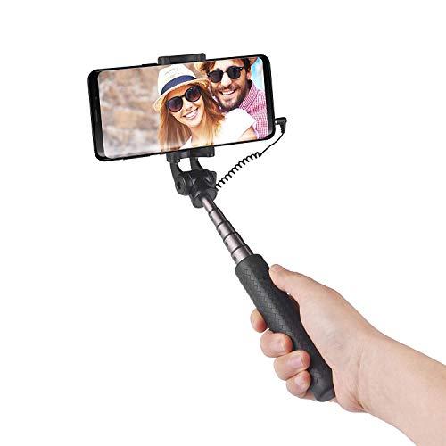 Power Theory Mini Selfie Stick - Ohne Akku mit AUX Kabel Auslöser, Superkleiner Selfiestick für Samsung Galaxy S10 S9 S8 S7 S6 iPhone XS Max X 8 7 Plus 6s 6 und alle Smartphones, Selfi Stange Monopod