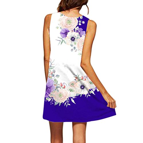 MRULIC Damen Lovely Mini Floral Printing A-Linie Kleider Beach Dress Vintage Boho damen Sommer Ärmelloses Party Kleide (EU-40/CN-M, H-Weiß) Floral Vintage-weste