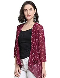 Serein Women's Purple Botanical Floral Print Georgette Shrug/Long Jacket with 3/4th Sleeves
