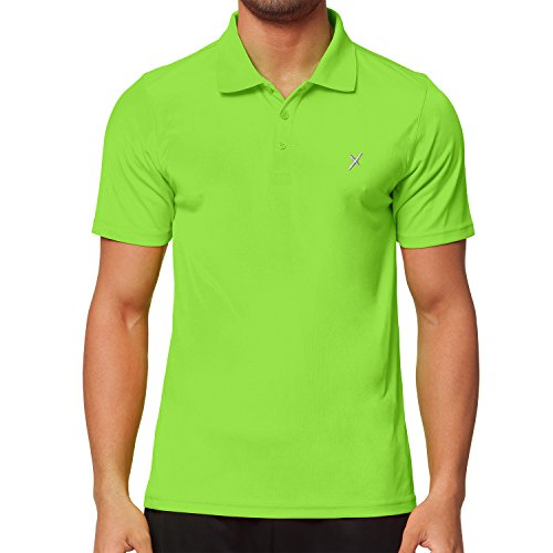 CFLEX Men Sportswear Collection - Herren Funktion Sport Kleidung - Fitness Quickdry Polo-Shirt & Hemd Fitness Sport Top - Electric Green Größe XL