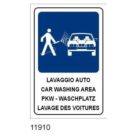 Schild Schild aus Aluminium cm. 35x25 Auto - Car Washing Area - PKW Waschplatz - Lavage des Voitures
