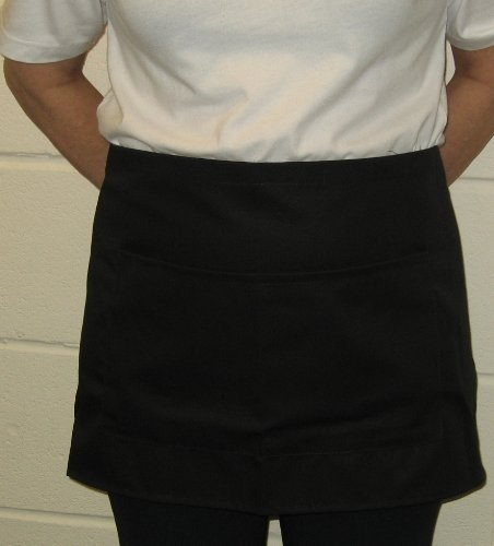 Half Apron with pockets, 69cm x 36cm, long ties, available in Black and White at only (Black)