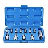 Gunpla Juego de 12 puntas Torx T8 - T60 de acero al cromo vanadio 1/4 pulgadas, 3/8 pulgadas y 1/2 pulgadas de disco de alta resistencia Star Sockets Tools