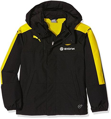 PUMA Kinder Jacke BVB Rain Jacket with hood and Sponsor, black-cyber yellow, 164, 749855 02