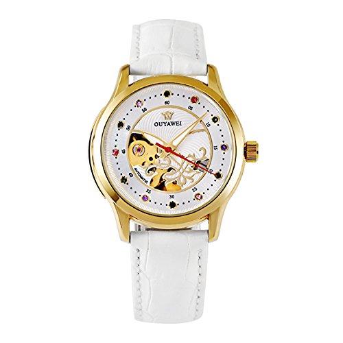 Damen Mechanische Automatik Armbanduhr Skelett Automatikuhr Uhr Herren Uhren Strass Skala weiß-Lederband Band