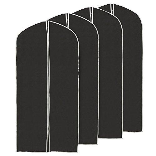 EZOware Pack de 4 - Housse Protection Pliable 60 x 150 cm pour Costume, Vêtement, Manteaux - Noir