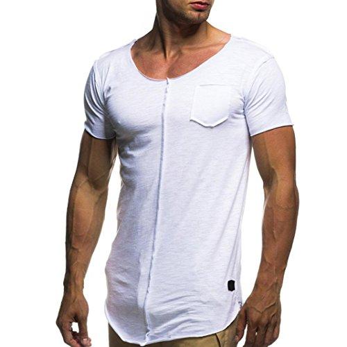 2018 Mode Persönlichkeit T-Shirt Herren, DoraMe Männer Slim Fit Hemd Kurzarm Shirt Sommer Sportlich Bluse Lässig Solide Pullover (Weiß, Asien Größe M) Hund Polo Ralph Lauren