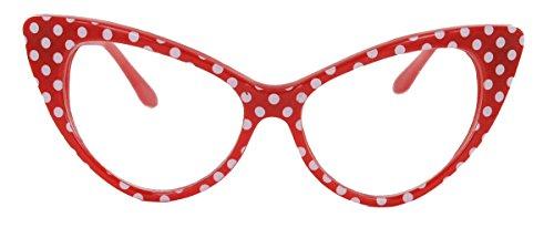 50er Jahre Damen Brille Cat Eye Nerdbrille Klarglas Brillengestell FARBWAHL KE (Polka Dots rot)
