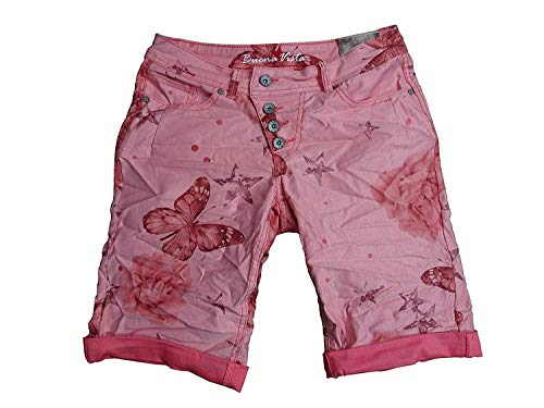 Buena Vista Damen Stretch Jeans Shorts Bermuda Krempelhose Malibu Butterfly weitere Farben (XS, red)