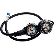 Cressi 2 Compass and Pressure Gauge Bar Diving Console - Black