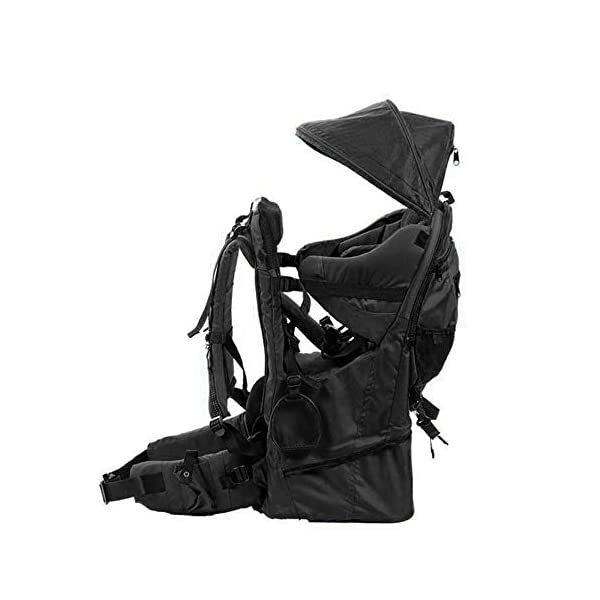 Lixada Baby Backpack Hiking Toddler Child Holder Backpack with Sunshade Visor  Bearing capacity up to 55lb. Padded sitting compartment with safety belt and back cushion. Comfortable for baby to put feet on with kickstand. 4