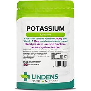 Lindens Kalium 200mg Tabletten | 100 Verpackung | Mit 50 mg Vitamin C pro Tablette. Fördert normale Blutdruckwerte und unterstützt Muskelfunktion und Nervensystem
