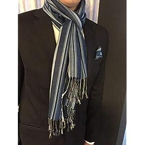 Exklusiver Herren Schal mit passendem Einstecktuch in Blau gestreift